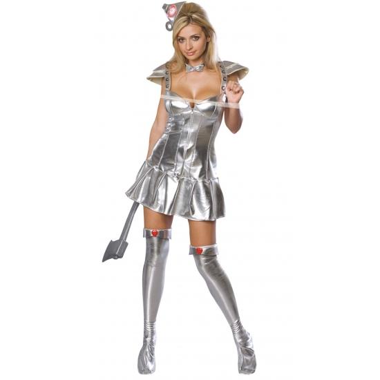 Sexy zilveren blikken vrouw kostuum