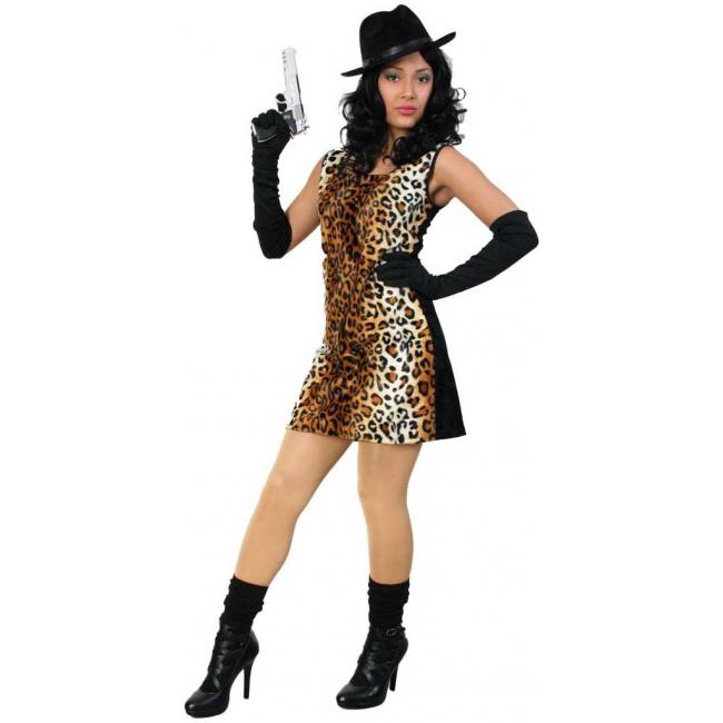Sexy tijgerprint gangster kostuum