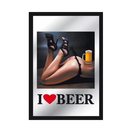 Decoratie spiegel sexy babe met bier