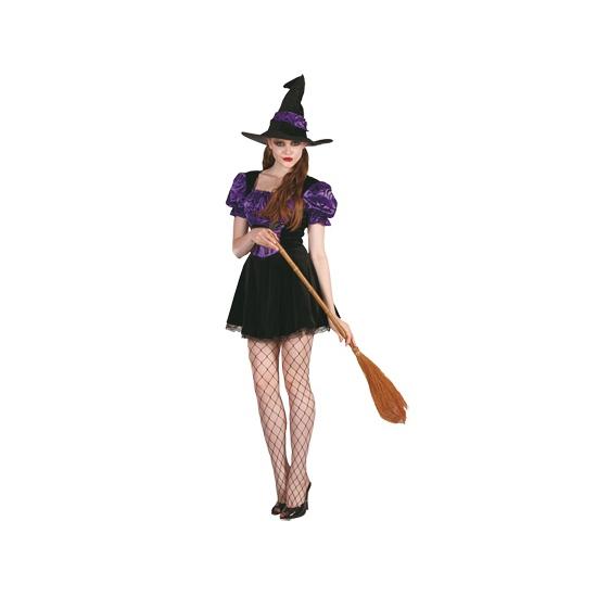 Sexy heksenjurkje paars met hoed