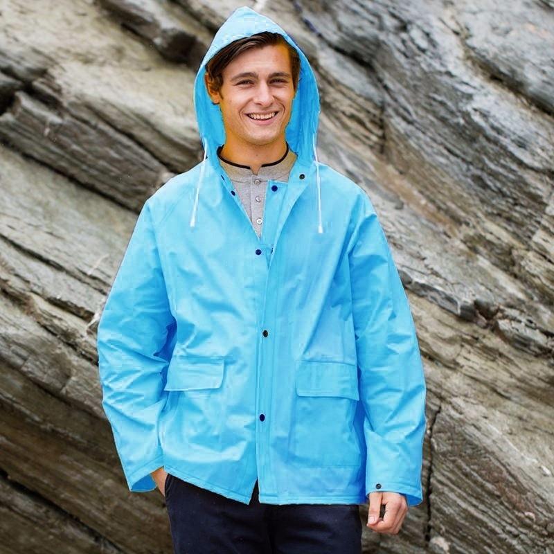 Blauwe unisex regenjas met drukknoopsluiting voor volwassenen