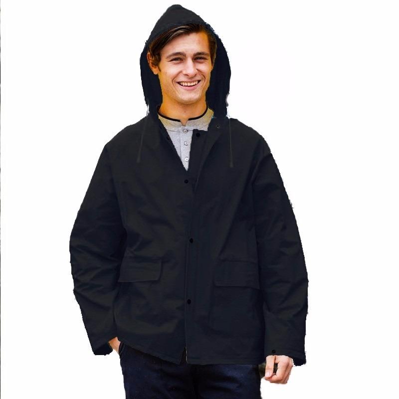 Zwarte unisex regenjas met drukknoopsluiting voor volwassenen