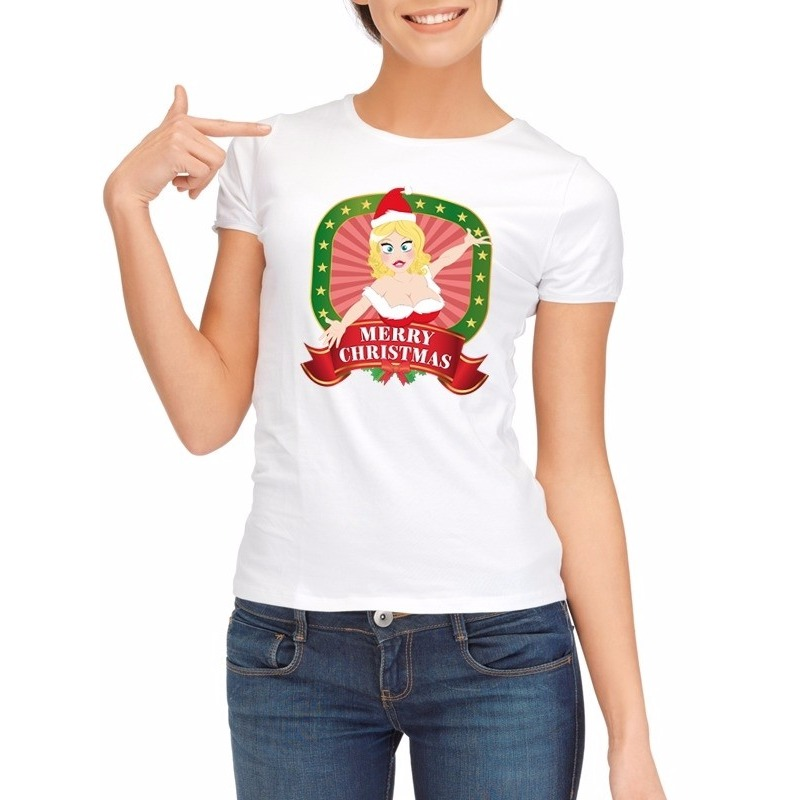 Sexy foute kerstmis shirt wit voor dames merry christmas