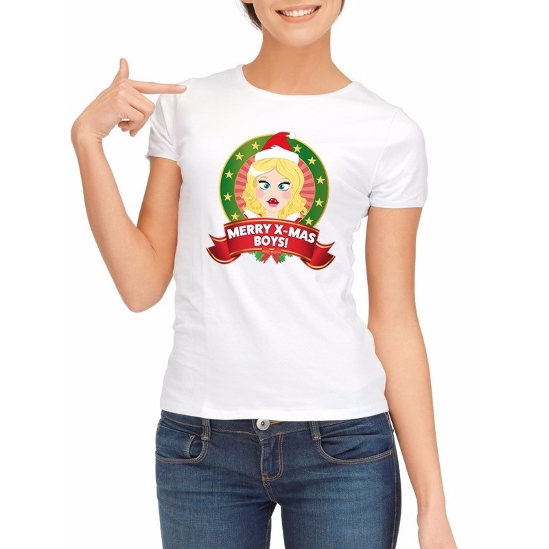 Sexy foute kerstmis shirt wit voor dames merry x mas boys
