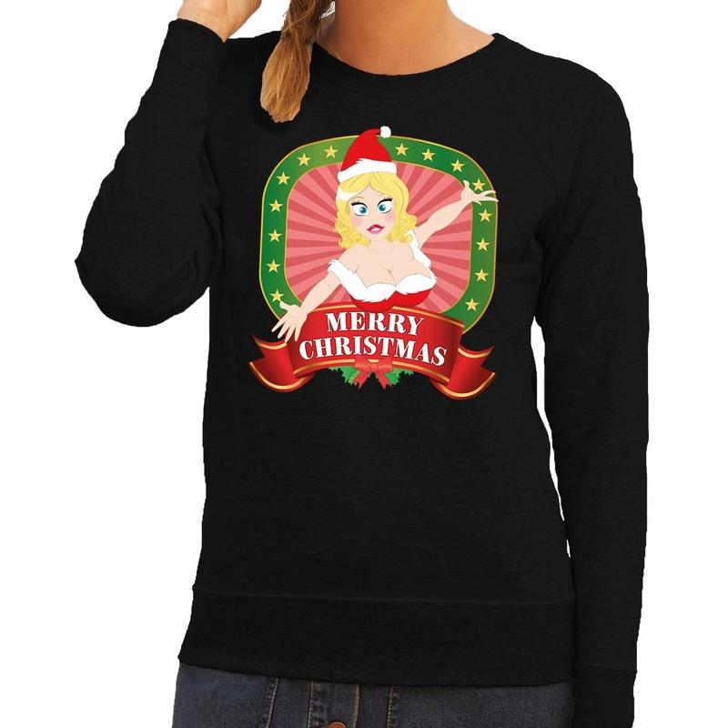 Foute kersttrui zwart met sexy kerstvrouw voor dames