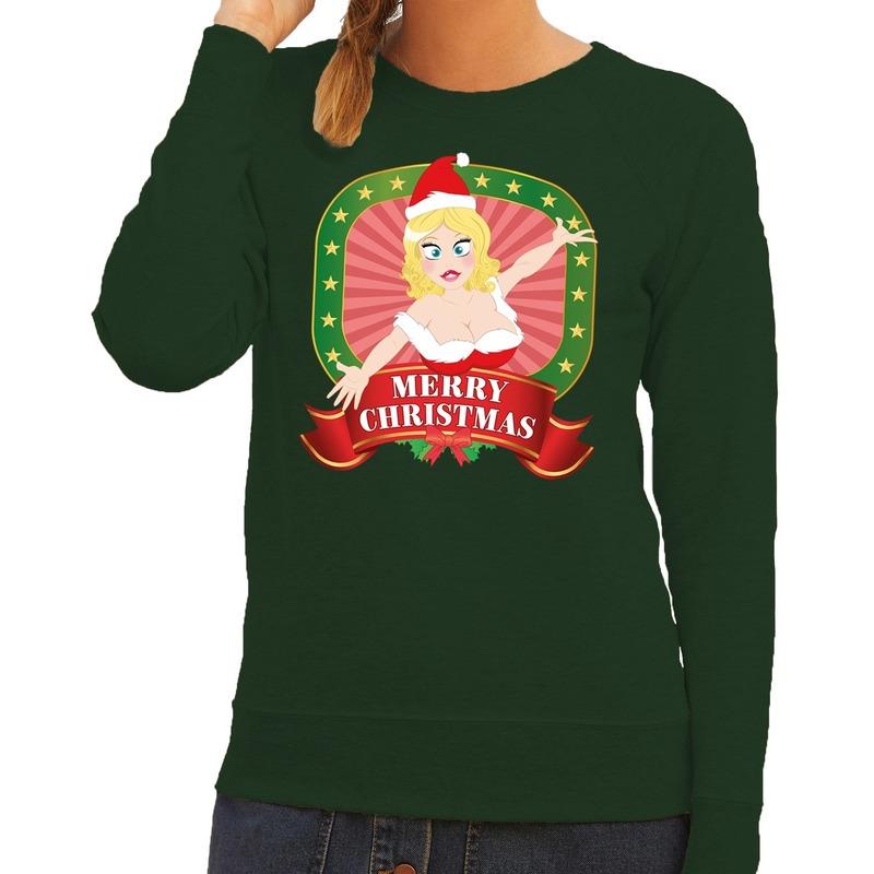 Foute kersttrui groen met sexy kerstvrouw voor dames