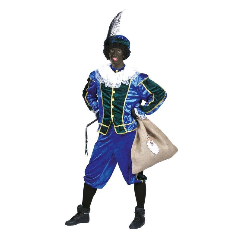 Goedkoop pieten outfit blauw met groen unisex