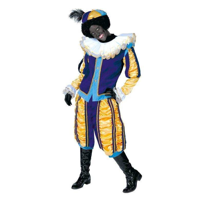 Luxe pieten outfit geel met blauw unisex