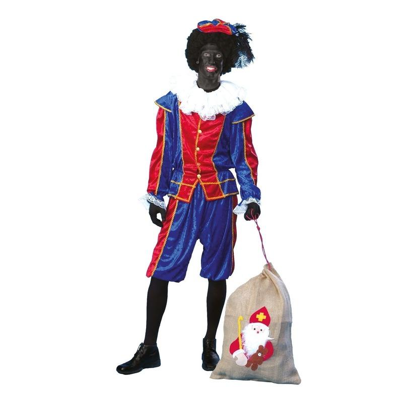 Goedkoop pieten outfit blauw met rood unisex