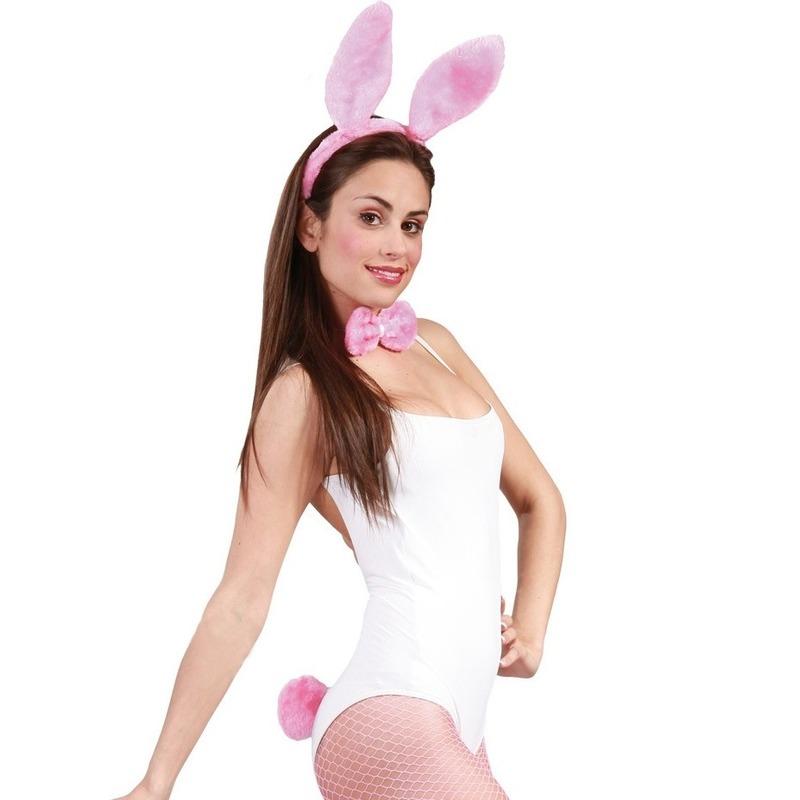 3x stuks sexy roze playboy playbunny konijntje verkleedsetje voor dames
