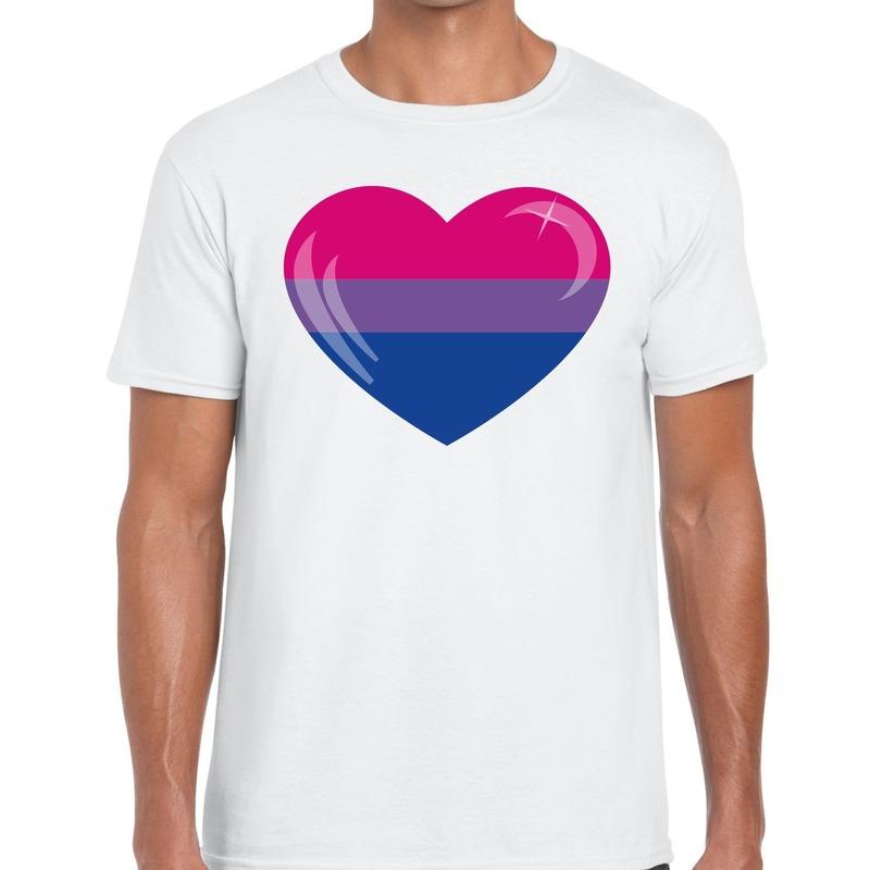 Bisexueel hart gay pride shirt wit heren