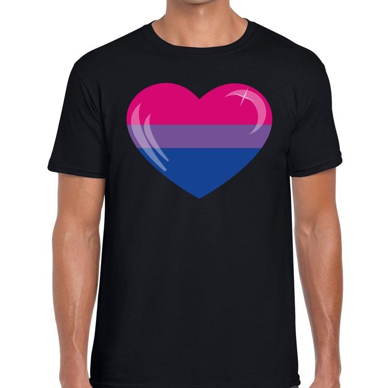 Bisexueel hart gay pride shirt zwart heren