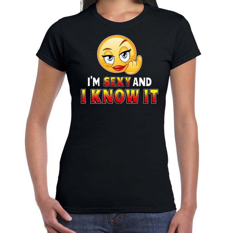 Sexy and i know it emoticon fun shirt dames zwart