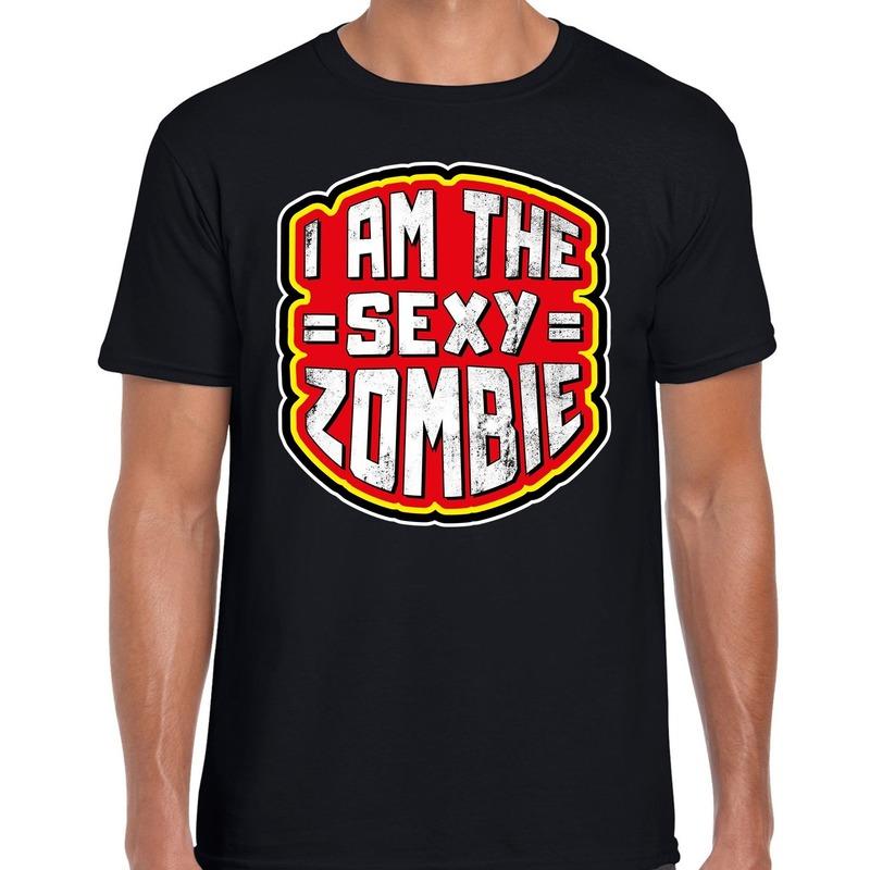 Halloween sexy zombie horror shirt zwart voor heren