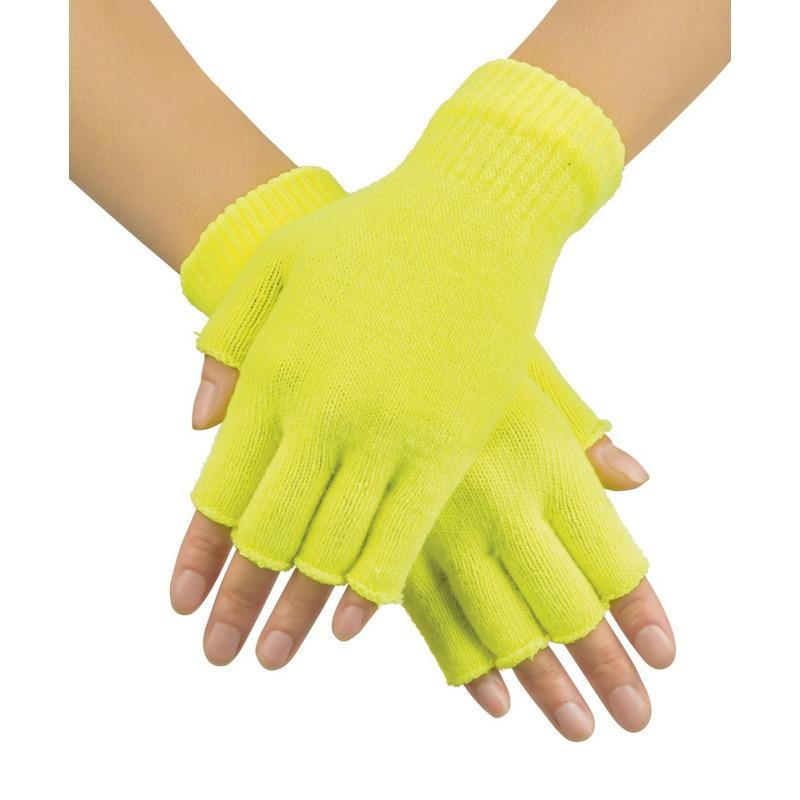 Neon gele vingerloze verkleed handschoenen gebreid voor volwassenen unisex