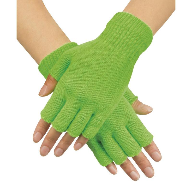 Neon groene vingerloze verkleed handschoenen gebreid voor volwassenen unisex