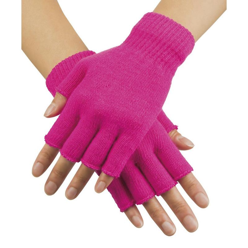 Neon roze vingerloze verkleed handschoenen gebreid voor volwassenen unisex