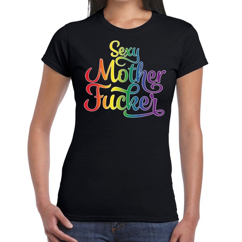 Gay pride sexy mother fucker shirt zwart dames