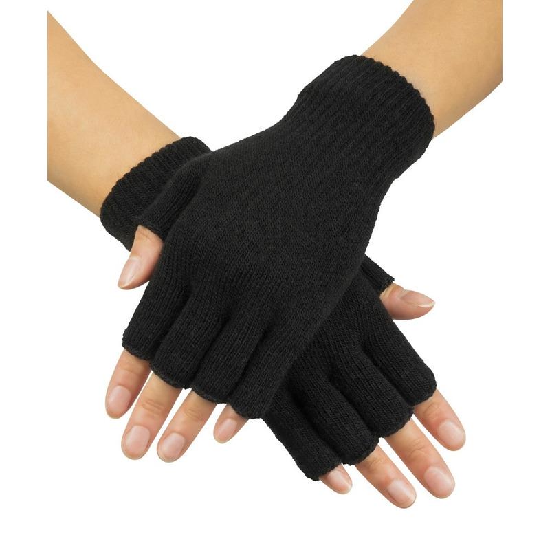 Zwarte vingerloze verkleed handschoenen gebreid voor volwassenen unisex